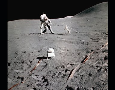 VARIOUS SPACE MISSIONS - ASTRONAUT WALKING ON THE MOON