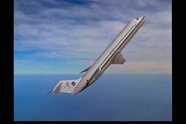 DC-9 AIRPLANE IN FLIGHT AT 50 DEGREES ANGLE OVER HORIZON