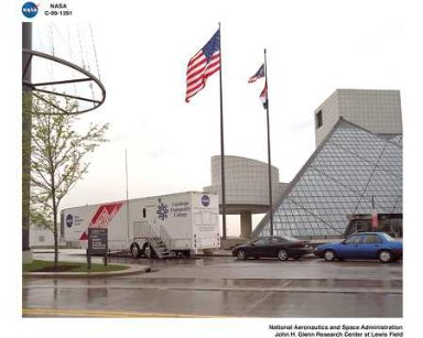 MOBILE AERONAUTICS EDUCATIONAL LABORATORY MAEL TRAILER IN FRONT OF THE ROCK AND ROLL HALL OF FAME IN CLEVELAND OHIO