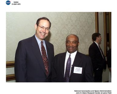 OHIO GOVERNOR ROBERT TAFT AND NASA JOHN H GLENN RESEARCH CENTER DIRECTOR DONALD CAMPBELL DURING THE GREATER CLEVELAND GROWTH ASSOCIATION MEETING