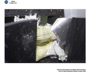 BEFORE AND AFTER SHOTS OF BALLISTIC IMPACT TEST OF WOVEN COMPOSITES LG255