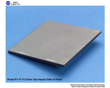 carbon/carbon fiber panels, panel R1-47-15 post test isometric view of impact side