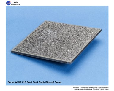 carbon/carbon fiber panels, panel A150 #18 post test isometric view of back side