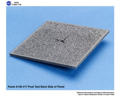 carbon/carbon fiber panels, panel A150 #17 post test isometric view of back side