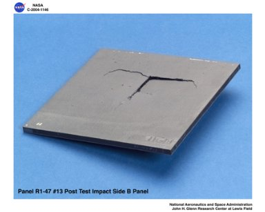 carbon/carbon fiber panels, panel R1-47-13 post test isometric view (B) of impact side