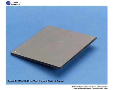 carbon/carbon fiber panels, panel R285-10 post test isometric view of impact side