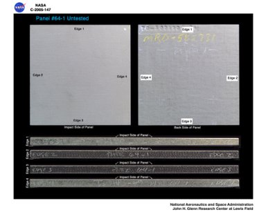 Panel 64-1 Untested ( pre test ) RCC carbon / carbon fiber panels - the panels are space shuttle tile material being tested in the ballistics lab building 49