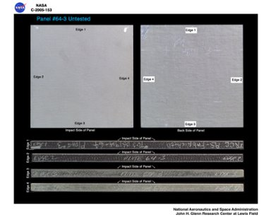 Panel 64-3 Untested ( pre test ) RCC carbon / carbon fiber panels - the panels are space shuttle tile material being tested in the ballistics lab building 49