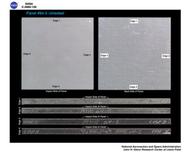 Panel 64-2 Untested ( pre test ) RCC carbon / carbon fiber panels - the panels are space shuttle tile material being tested in the ballistics lab building 49