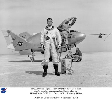 X-24A on Lakebed with Pilot Major Cecil Powell