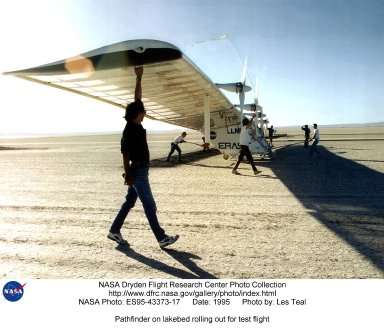 Pathfinder on lakebed rolling out for test flight