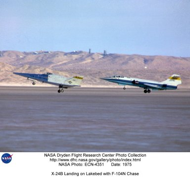 X-24B Landing on Lakebed with F-104N Chase