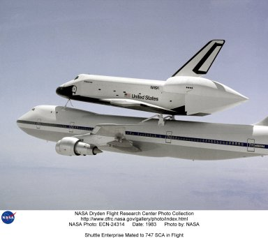 Shuttle Enterprise Mated to 747 SCA in Flight