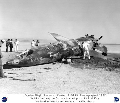 X-15 #2 on lakebed after engine failure forced pilot Jack McKay to make an emergency landing at Mud