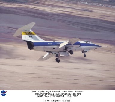 F-104 in flight over lakebed