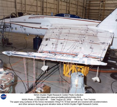 The upper wing surfaces of the Active Aeroelastic Wing F/A-18 test aircraft are covered with acceler