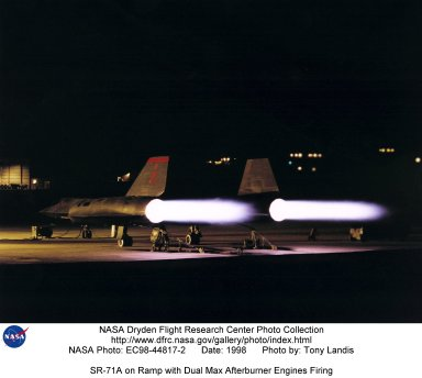 SR-71A on Ramp with Dual Max Afterburner Engines Firing