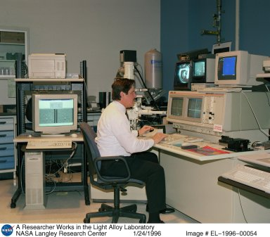 A Researcher Works in the Light Alloy Laboratory