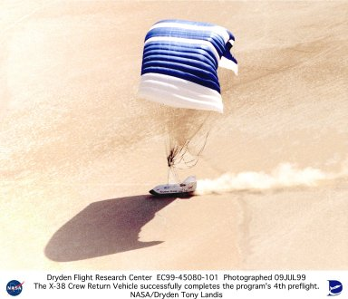 X-38 Ship #2 Landing on Lakebed, Completing the Program's 4th Flight