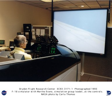 F-18 simulation with Simulation Group Lead Martha Evans at the controls
