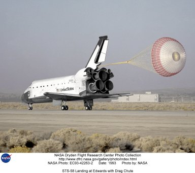 STS-58 Landing at Edwards with Drag Chute