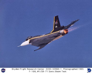 F-16XL ship #1 and SR-71 in formation flight with afterburner studying the characteristics of sonic