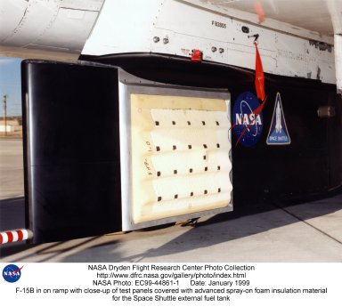 F-15B in on ramp with close-up of test panels covered with advanced spray-on foam insulation materia