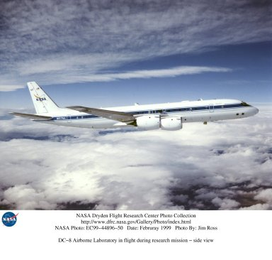 DC-8 Airborne Laboratory in flight during research mission - side view