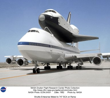 Shuttle Enterprise Mated to 747 SCA on Ramp