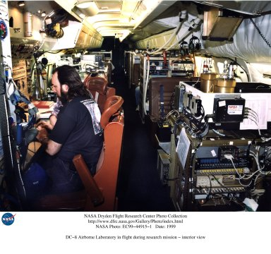 DC-8 Airborne Laboratory in flight during research mission - interior view