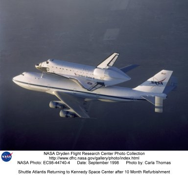 Shuttle Atlantis Returning to Kennedy Space Center after 10 Month Refurbishment