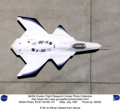 X-36 on Ramp Viewed from Above