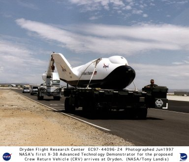 X-38 Arrival at NASA Dryden on June 4, 1997