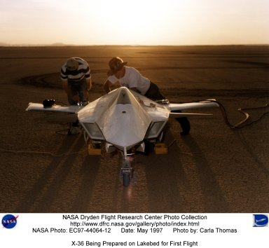 X-36 Being Prepared on Lakebed for First Flight