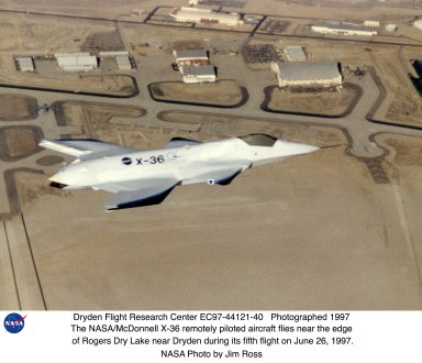 X-36 in Flight near Edge of Rogers Dry Lake during 5th Flight
