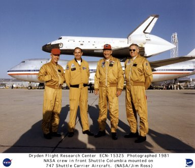 Shuttle Columbia Mated to 747 SCA with Crew