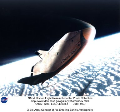 X-38: Artist Concept of Re-Entering Earth's Atmosphere