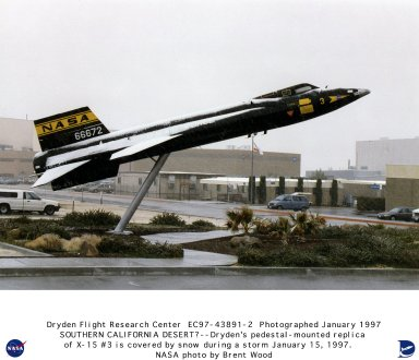 X-15 #3 pedestal-mounted full-scale replica covered in snow