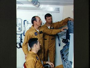 """Skylab 2 crew during """"open house"""" press day at Manned Spacecraft Center (MSC)"""