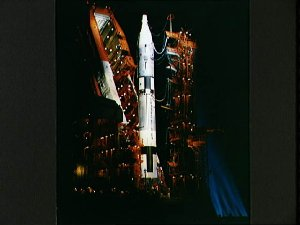 View of a Gemini-Titan spacecraft on launch pad at night