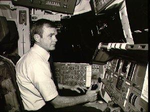 Astronaut Roy Bridges in One-G trainer