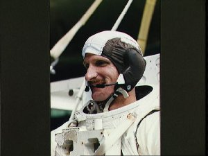 Astronaut Joseph Tanner is prepares to be submerged in the WETF
