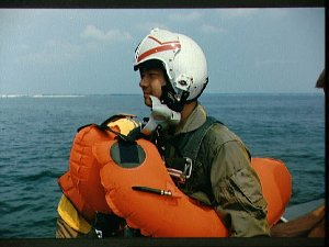 1990 astronaut candidate Leroy Chiao during water survival training at EAFB