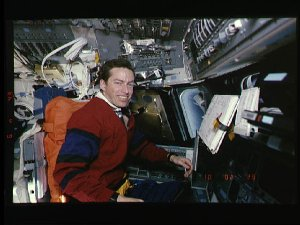 Mission commander James Wetherbee on the forward flight deck