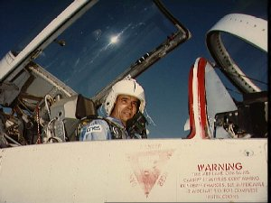 Payload specialist Patrick Baudry in NASA T-38 jet aircraft