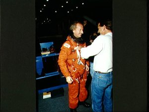 STS-45 Payload Specialist Frimout with technician before JSC egress training