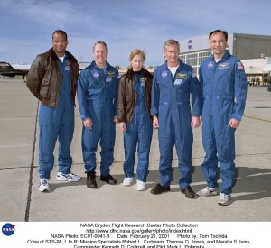 Crew of STS-98, L to R: Mission Specialists Robert L. Curbeam, Thomas D. Jones, and Marsha S. Ivins,