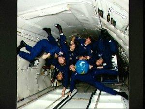 STS-45 crewmembers during zero gravity activities onboard KC-135 NASA 930
