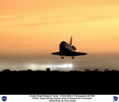 STS-76 Space Shuttle Atlantis lands at EAFB