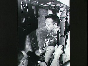 Astronaut Alan Shepard prepares for testing in centrifuge